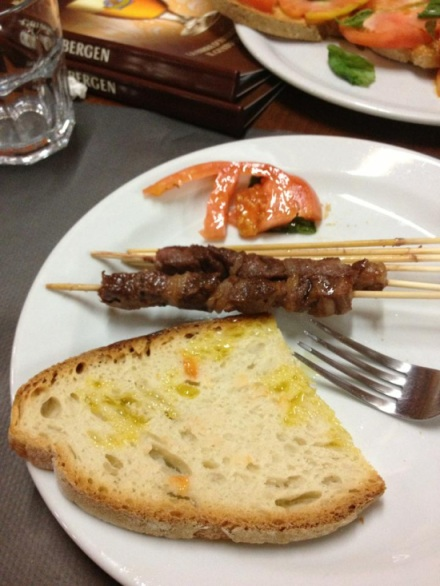 Arrosticini and Bruschetta